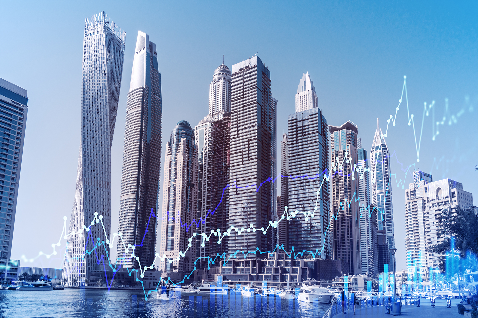 Skyscrapers,Of,Dubai,Business,Downtown.,International,Hub,Of,Trading,And